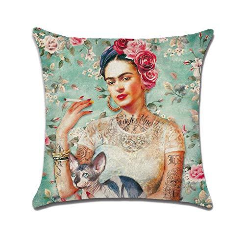 FEIRAN 3D Impreso Frida Kahlo Autorretrato Funda de Almohada de Lino Funda de cojín 07 45X45cm