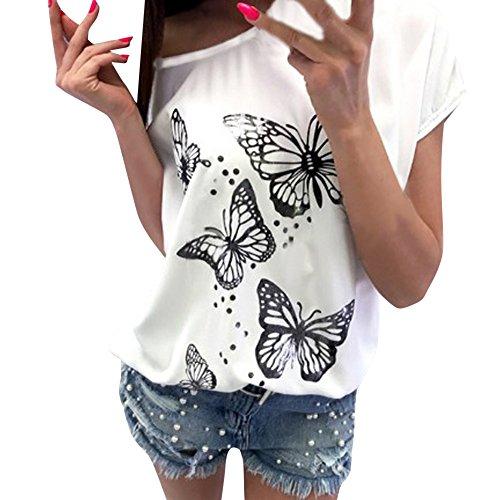 Estampado de Mariposa Raya Camiseta de Mujer,Honestyi Blusa de Suelto Asimétrica T-Shirt de Simple Verano Camisa de Casual Camisa de Manga Corta Primavera Tirantes Estilo Retro Cuello Colgando