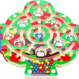 Toys of Wood Oxford, Albero di mele magnetico, Puzzle del labirinto con 2 penne magnetici e perline