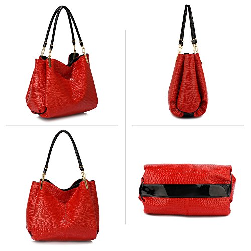 Womens Hobo Bags Ladies 3 Compartment Handbag Snake Effect Patent Leather  New Shoulder Designer Female Luxury Handbag - SixtySomething - Over Sixty  ... 6a20d2dc1e69b