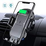 FLOVEME Handyhalter Fürs Auto Mit Ladestation Lüftung, Induktiv Qi Wireless Charger KFZ Handyhalterung Für iPhone XS/XS Max/XR/X/8/8P, Galaxy Note 9/S9/S9 /Note 8/S8/S8 /S7 usw.