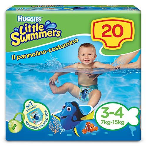 Huggies Little Swimmers Pannolini, Taglia 3/4 (7-15 kg), Pacco da 20 Pezzi