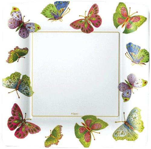 Caspari Entertaining with Platos de papel (8 unidades), diseño de mariposas, color crema