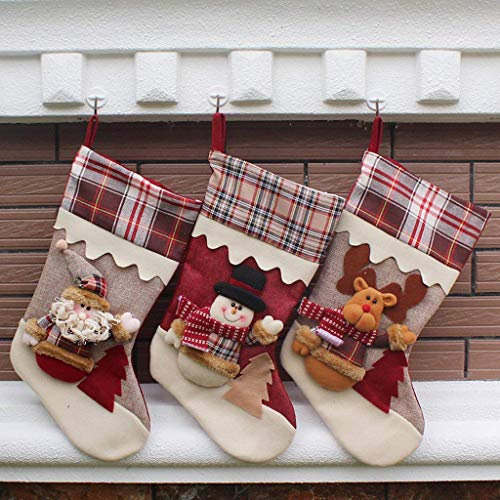FREESOO 3PCS Christmas Stocking Sock Gift Bag Tree Decorating Supplies Festival Creative Decorative Socks Hanging Ornaments Decoration (1*Santa+1*Snowman+1*Elk)