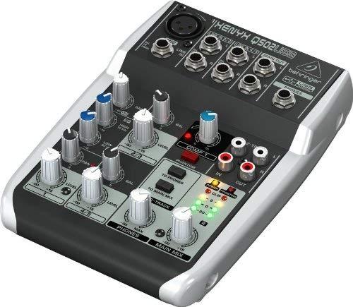 Behringer Xenyx Q502USB - Mezclador USB para DJ (5 entradas, 2 buses, Jack de 2.5 mm), color negro y blanco