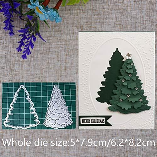 Fustella 3D a forma di albero di Natale, in acciaio al carbonio, per scrapbooking, goffratura, in metallo, per fai da te, per decorare album, cartoline e biglietti