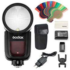 Godox V1N Flash Speedlite,de cámara de Cabeza Redonda TTL 2.4G HSS Speedlight para cámaras réflex Digitales Nikon para Nikon D800 D700 D7100 D7000 D5200 D5100 D5000 D300 D300S con batería de Litio