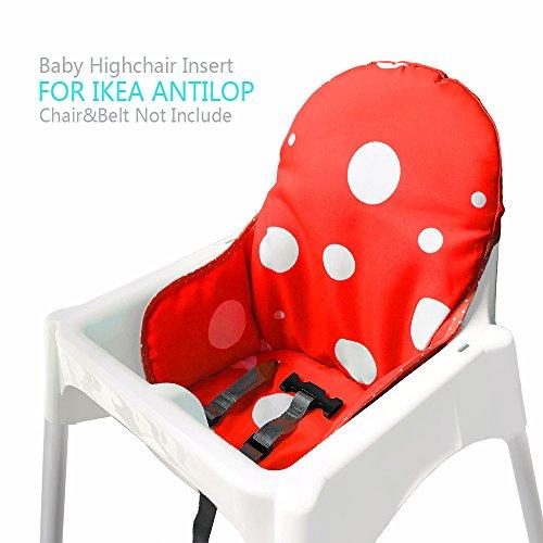 ZARPMA Cuscino Seggiolone coprisedili per Ikea Antilop,Lavabile per Bambini Pieghevole Ikea Childs Sedia coprisedili Ricoperto-Non Include Di Seggiolone E Cintura Di Sicurezza (Rosso)