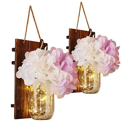 Emotionlite Luce del barattolo di muratore,Applique da parete in legno rustico,Ganci in ferro...