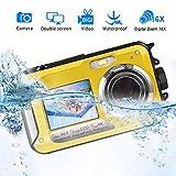 Fotocamera Subacquea Digitale Snorkelling Fotocamera Impermeabile da 24,0 m3 Galleggiante Telecamera d'azione a doppio schermo impermeabile Full HD 1080P