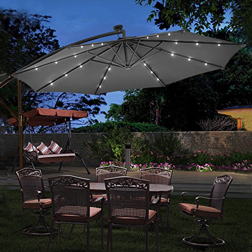 The COSTWAY 3M Outdoor LED Parasol will make your nights more special thanks to the 24 solar LED lights installed in the inner surface. You can enjoy quiet relaxed evenings outside with your family without needing additional lights.