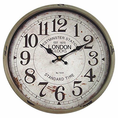 perla pd design orologio da parete in metallo con quadrante in vetro, design Vintage London, colore fango laccato ca. 30 cm.