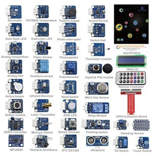 61%2BSMiIqdfL - SunFounder 37 Modules Sensor Kit V2.0 for Raspberry Pi 4, 3, 2 and RPi Model B+, 40-Pin GPIO Extension Board Jump wires