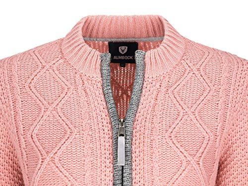Almbock Strickjacke Reißverschluss Damen | Hochwertige Trachten Strickjacke | Trachtenjacke Damen aus Feiner Wolle in Vielen Farben von Gr. S - XXL (Altrosa, XXL) - 5