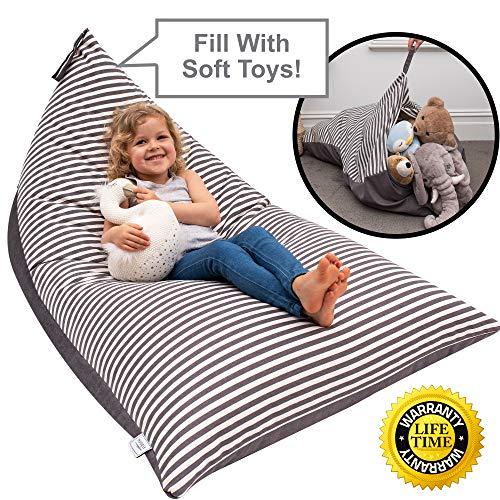 Huddle Supply Co, Poltrona a Sacco per Bambini - Pouf portaoggetti - Sedia di Design - Pouf per Bambini, Ragazzi e Adulti - Extra Large - 100% Tela di Cotone di Alta qualità