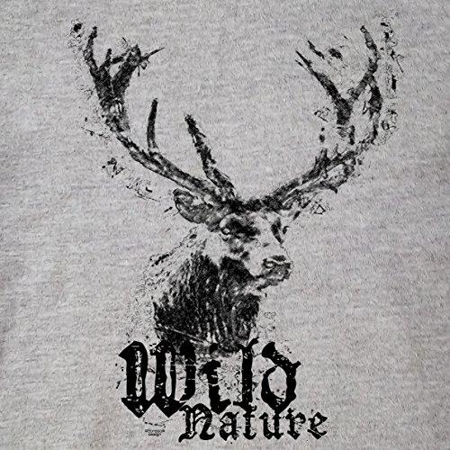 Damen Trachten T-Shirt Kurzarm mit Hirsch Motiv : Trachtenshirt für Oktoberfest Volksfest Freizeit für Mädchen und Frauen : Wild Nature Farbe: dunkelgrau Gr: L - 2