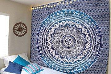 Tapiz Raajsee de regalo de Navidad, azul con degradado y Mándala, tapiz de elefante bohemio, diseño psicodélico para colgar en la pared, tapiz hippie de 220x 240cm 3