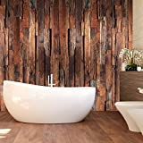 murimage Papier Peint Bois 274 x 254 cm Photo Mural Rustique Vintage Salle de Bain Chambre à Coucher Wallpaper Colle Inclus