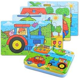 BBLIKE Puzzle Legno – 4 pezzi Giochi Legno Bambini con Confezione in Scatola di Ferro, Fattori