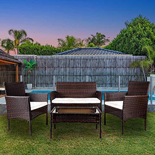 YOUKE 4 Pezzi in Rattan mobili da Giardino Divano Set di tavoli e sedie da Giardino, Veranda - Brown