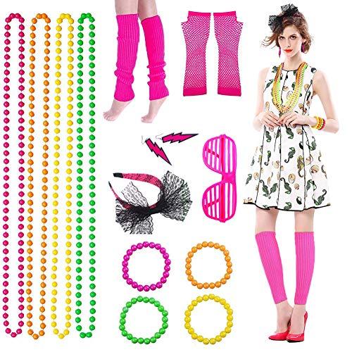 Xiangmall Anni 80 Vestiti Donna Neon Costume Rete Guanti Collane Orecchini Scaldamuscoli per Costumi...