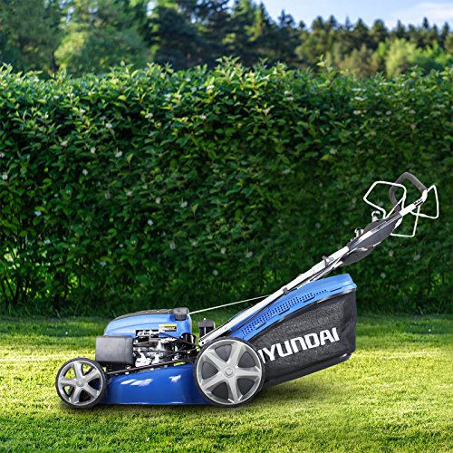 We really like the Hyundai HYM510SPE 173cc Self Propelled Lawn Mower, we loved it that much we named it our 'Best Pick'.  It starts quickly and easily without straining your back thanks to the electric button start, we love that it has four speeds of mowing with smooth transitions as most other models have just one standard speed.