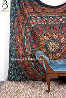 Aakriti Gallery Tapestry Queen Flower Hippie Tapestries Mandala Bohemian Psychedelic Intricate Indian Bedspread 92×82 Inches Brand Name