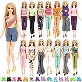 Miunana 5 Traje de Ropa Casual Hecha a Mano Chaleco 5 Camiseta + 5 Pantalones + 10 Sandalias Accesorios como Regalo para 11.5 Inch Doll Muñeca Barbie Doll