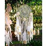 AerWo DIY Kit Dream Catcher avec des paillettes or plume Tenture murale ornement artisanat cadeau pour bébé douche Boho Party décorations