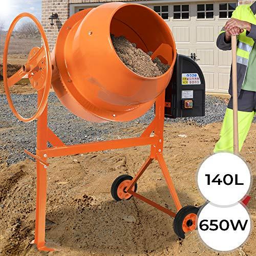 Betoniera Elettrica - Capacità 140 l, 650 W, Acciaio, 230 V, Arancione - Miscelatore Cemento,...
