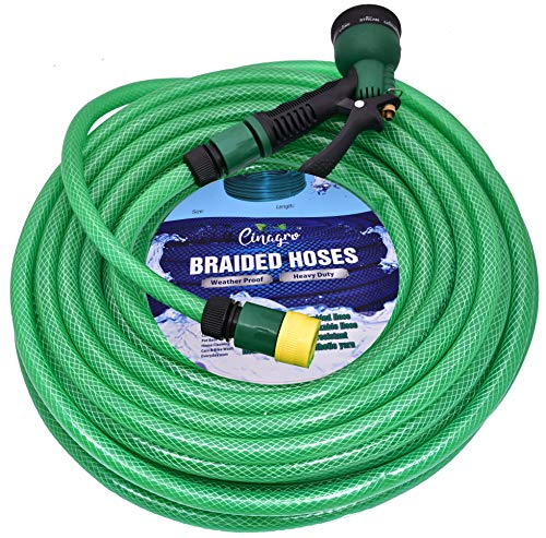 CINAGROTM - Heavy Duty 3 Layered Braided Water Hose Pipe (Size : 1/2 inch - Lenght : 30 Meters) with 8 Mode Spray Nozzle and Quick Snap-in Connectors - Garden, Car Wash, Floor Clean, Pet Bath