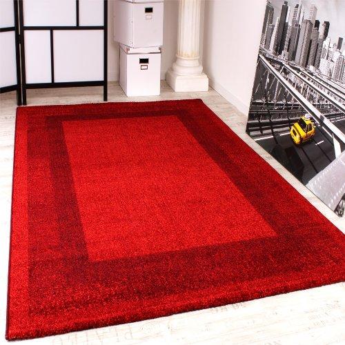 Paco Home Tappeto di Design con Bordi Tappeto Moderno Fantasia in Rosso, Dimensione:80x150 cm
