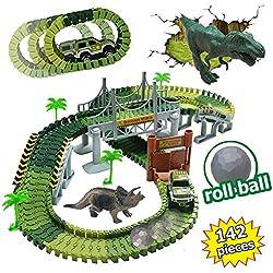 KaliningEU Dinosaurio Juguetes Pistas Dinosaurio Coches de Carreras Accesorios, 2 Mini Dinosaurios, 1 Dinosaurio Coche ferrocarril Regalos del Dinosaurio para los niños (142 Piezas)