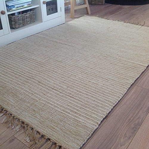 Second Nature Cotone Naturale e Juta Beige Crema Chiaro Pin Stripe passatoia 70cm x 200cm