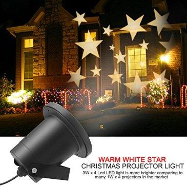 Lumières de Projection de Noël, Dreamix Imperméable à l'eau Flan à Star Blanche Projecteur de Paysage à LED Lampadaires à l'extérieur pour Noël Maison de Vacances Décoration de mur Décoration de Jardin