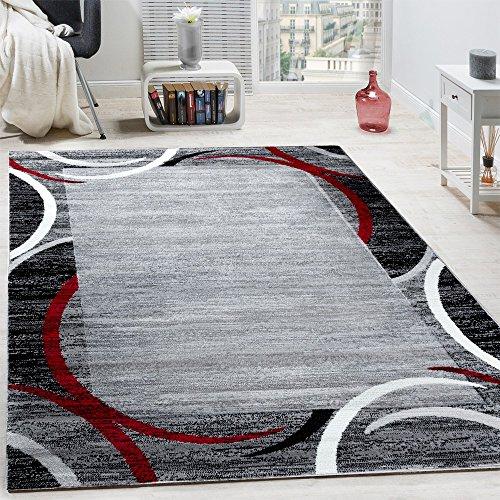 Paco Home Tappeto per Salotto Tappeto di Design Bordo mélange Grigio Nero Crema, Dimensione:120x170...