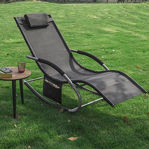 SoBuy OGS28-SCH Swingliege, Schaukelliege, Sonnenliege, Liegestuhl,Gartenliege mit Tasche, Gewebe in schwarz