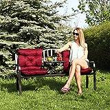 Relaxdays Gartenbank mit Klapptisch, 3-Sitzer, integrierte Tischablage, wetterfest, HxBxT 90 x 150 x 57,5 cm, schwarz - 2