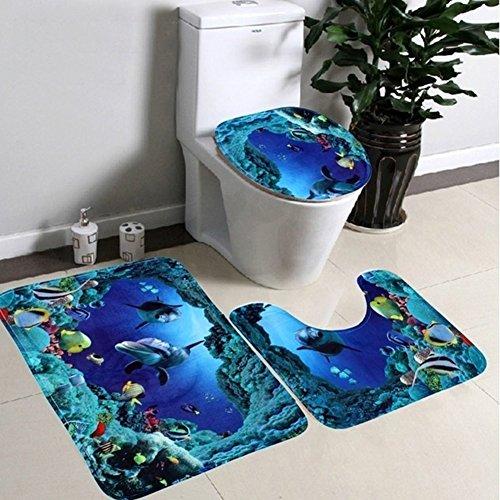 Mingpinhui tappetino da bagno, tappetino per bagno Set 3pezzi antiscivolo da bagno lavabile...