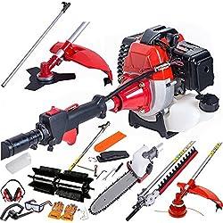 dealourus 52cc Long Reach petrol multi funktionelle Garten-Werkzeug einschließlich: Rasentrimmer, Heckenschere, Power Sweeper Kehrgerät, Hochentaster, Pinsel Cutter & Verlängerungsstange