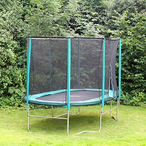 A perfect shape for narrow gardens and gives users freedom to bounce all over. Frame is made from durable galvanised steel with decent thickness to support a user weight of up to 114kg. User comfort was well thought of with the addition of 27mm thick foam padding surrounded by a safety net.