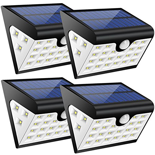 Luci Solari Esterno,4pcs Luce Solare led Esterno con Sensore Movimento,28 led,300 LM,Illuminazione a...