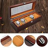 The perseids Meravigliosa cassa dellorologio lusso per uomini 5 slot in legno massello scatola immagazzinaggio organizzatore immagazzinaggio squisita e durevole, custodia per gioielli