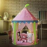 Princesa de la muchacha tienda del castillo con 5 metros con pilas Decoración de interior luces de hadas 50pcs LED copos de nieve iluminación -Pink Playhouse Pop up Tienda de campaña Sala d