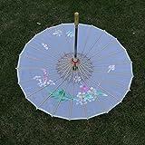 Femme Ombrelle Chinoise Fait à La Main en Tissu Parasol Floral Decoratif Accessoires pour Danse Mariage - Blanc