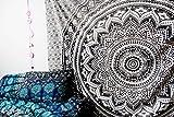 Tenture motif mandala noir et blanc en coton Mahira Sales taille queen 213,4x 238,8cm style bohème hippy