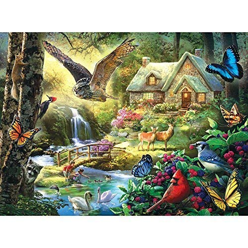 Bits and Pieces 300 Piezas de Rompecabezas para Adultos Cottage Bosque 300 Pc búho y la Mariposa Jigsaw por Artista Larry Jones