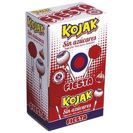 FIESTA Kojak – Bonbons au bâton – Sans sucre – Saveur cerise – 50 unités