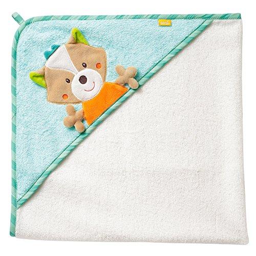 Fehn 071283 Kapuzenbadetuch Fuchs/Bade-Poncho aus Baumwolle mit Fuchs Motiv für Babys und Kleinkinder ab 0+ Monaten/Maße: 80x80cm