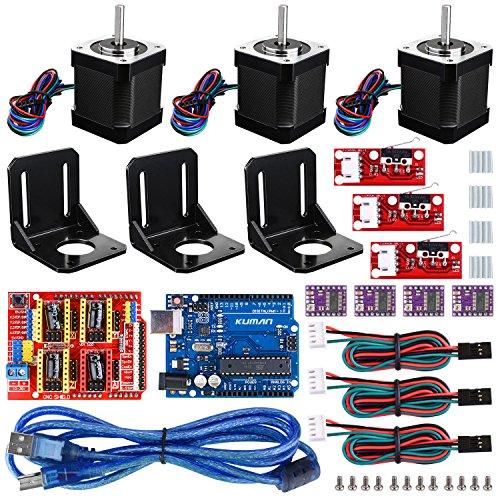 Professional 3D printer CNC Kit for arduino , Kuman GRBL CNC Shield+UNO-R3 Board+RAMPS 1.4 Mechanical Switch Endstop+DRV8825 A4988 GRBL Stepper Motor Driver with heat sink+Nema 17 Stepper Motor KB02